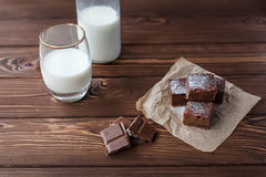 Brownie do chocolate com leite Imagem de Stock