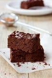 Brownie, dolce di cioccolato del primo piano Immagini Stock