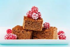 'brownie', gâteau de chocolat de plan rapproché dans le plat blanc images stock