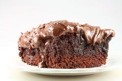 'brownie' givré par chocolat gluant. Photos libres de droits