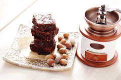 Brownie with hazelnuts Royalty Free Stock Image