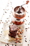 Brownie with hazelnuts Stock Photo