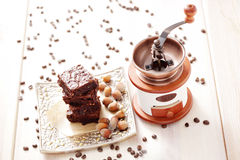Brownie with hazelnuts Royalty Free Stock Photos