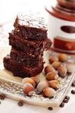 Brownie with hazelnuts Royalty Free Stock Photos
