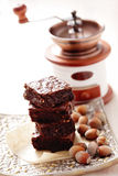 Brownie with hazelnuts Stock Images