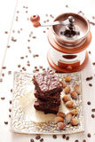 Brownie with hazelnuts Stock Photos