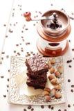Brownie with hazelnuts Stock Photos