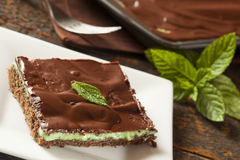 Brownie hecho en casa del chocolate y de la menta Foto de archivo