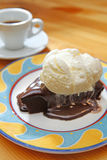 Brownie with ice cream Stock Photo