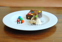 Brownie Ice Cream Sundae on wood table Royalty Free Stock Image