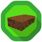 Brownie illustration. With green background and drop shadow Stock Photos