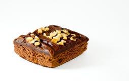Brownie isolato con le noci Immagine Stock Libera da Diritti