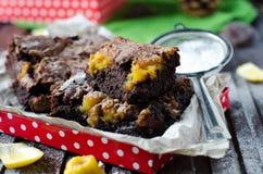 Brownie with lemon Stock Photo