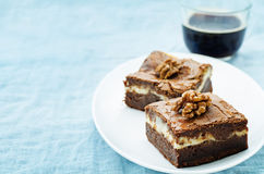Brownie met roomkaas stock afbeelding