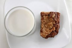 Brownie and milk Royalty Free Stock Photos