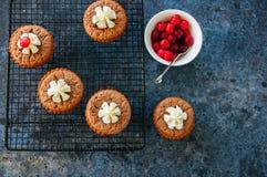 Brownie mins οι πίτες εξυπηρέτησαν σε ένα ράφι καλωδίων σε ένα backgrou μπλε πετρών Στοκ Εικόνα