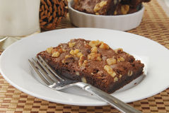 Brownie with nuts Stock Images
