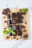 Brownie with nuts and mint Stock Photo