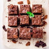 Brownie pieces with nuts on the white paper decorated with mint leaves. Stock Photos