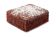 Brownie with Powdered Sugar. Isolated on white. The image is in full focus, front to back. The isolation is on a transparent background in the PNG format stock photo