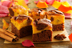 Brownie with pumpkin. And chocolate royalty free stock images