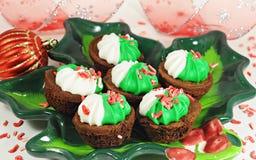 Brownie sabroso para la Navidad fotografía de archivo libre de regalías