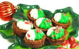 Brownie sabroso para la Navidad fotos de archivo
