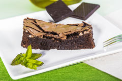 Brownie slice. On a decorated plate Stock Image