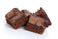 Brownie Snacks. Brownies isolated on white background Royalty Free Stock Photos