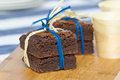 Brownie square cakes Stock Images