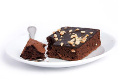 Brownie square on plate dish. Brownie squares on a isolated white background Stock Images