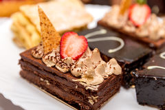 Brownie with strawberry topping Royalty Free Stock Photography