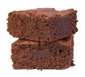 Brownie su bianco Fotografia Stock