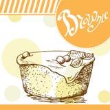 Brownie vectorkaart Hand-drawn affiche met kalligrafisch element Kunstillustratie Zoet pictogram Royalty-vrije Stock Foto