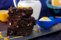 Brownie with walnuts and dried cranberries Stock Images