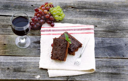 Brownie with wine Royalty Free Stock Photo