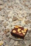 Brownies σε ένα πιάτο στο υπόβαθρο της πέτρας Στοκ Εικόνες