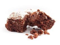 Brownies στην άσπρη ανασκόπηση Στοκ Εικόνες