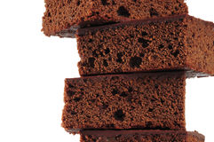 Brownies. Fresh slices of backed chocolate cake Stock Photo