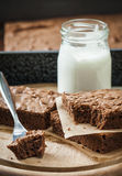Brownies. Fresh baked chocolate brownie with yogurt Stock Photo