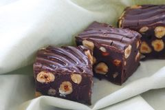 Brownies. Chocolate fudge and nut brownies, ready for your enjoyment Royalty Free Stock Images