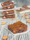 Brownies with almonds Royalty Free Stock Photos