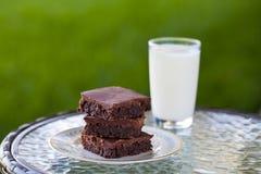 Brownies caseiros do chocolate com um vidro do leite fotografia de stock