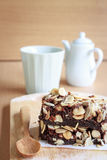 Brownies. Chocolate brownie cake serve on plate royalty free stock images