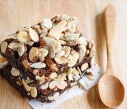 Brownies. Chocolate brownie cake serve on plate Royalty Free Stock Photos