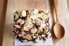 Brownies. Chocolate brownie cake serve on plate Royalty Free Stock Photo