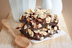 Brownies. Chocolate brownie cake slice serve on plate Stock Photos