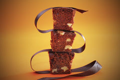 Brownies with chocolate and nuts royalty free stock photos