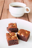 Brownies with cup of coffee Royalty Free Stock Photos
