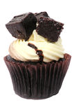 Brownies Cupcake. Chocolate Brownies on the top of Cupcake with vanilla cream Stock Photo